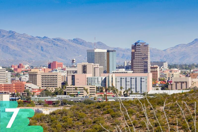 Taken from the desert, downtown shot of Tucson, Arizona with skyscrapers toward the front and mountains in the background.